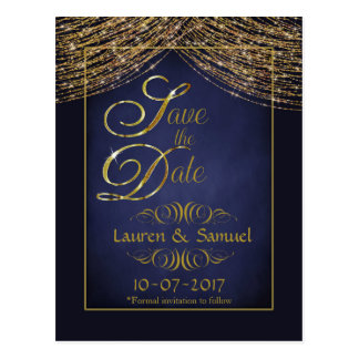 Elegant Blue and Gold Save the Date PostCards