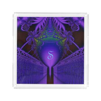 Elegant Blue and Purple Lace Fractal Monogram Perfume Tray