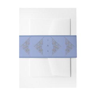 Elegant Blue and Silver Ornate Wedding Invitation Belly Band
