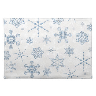 Elegant Blue and Silver Snowflake Print Placemat