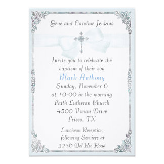 Elegant Blue and White Baptism Invitation