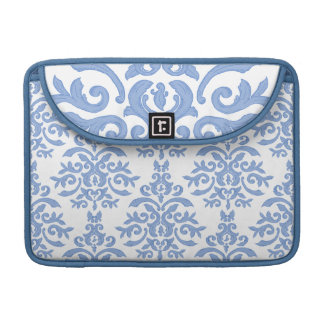 Elegant Blue and White Baroque Damask Sleeve For MacBooks