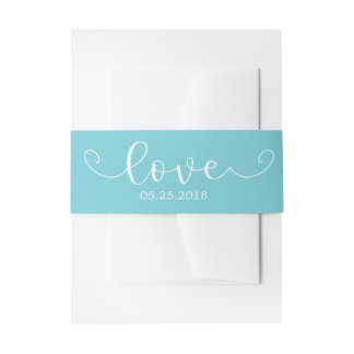 Elegant Blue and White Belly Band Invitation Belly Band