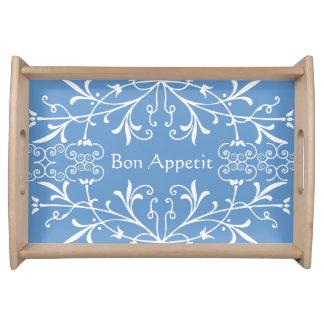 Elegant Blue and White Bon Appetit Swirls Serving Tray
