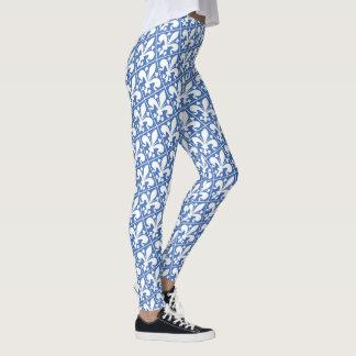 Elegant Blue and White Fleur de Lys French Leggings