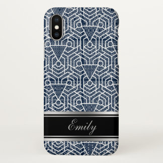 Elegant Blue And White Geometric Pattern iPhone X Case