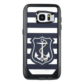 Elegant Blue And White Stripes With Anchor