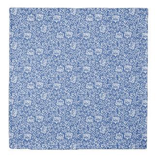 Elegant Blue and White Tudor Damask Duvet Cover