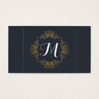 Elegant Blue and Yellow Monogram Business Card