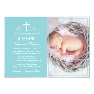 Elegant Blue Baptism Photo Invitation Card