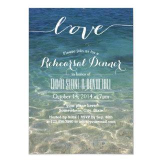 "Elegant Blue Beach Script Love Rehearsal Dinner 5"" X 7"" Invitation Card"