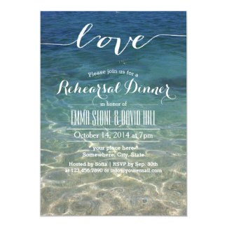 Elegant Blue Beach Script Love Rehearsal Dinner Card