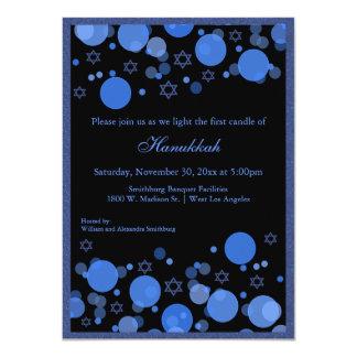 Elegant Blue Bokeh Lights Hanukkah Celebration Card