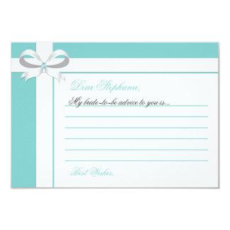 "Elegant Blue Bridal Shower Notes of Advice 3.5"" X 5"" Invitation Card"