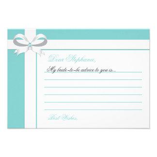 Elegant Blue Bridal Shower Notes of Advice Invites
