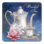 Elegant Blue Bridal Tea Invitations