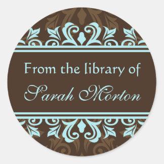 Elegant blue/brown damask bookplates/book labels round sticker