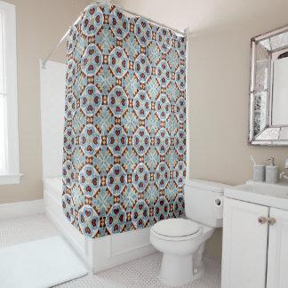 Elegant Blue Brown Mosaic Kaleidoscope Pattern