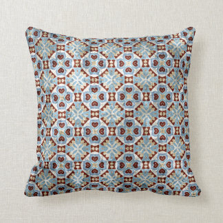 Elegant Blue Brown Mosaic Kaleidoscope Pattern Throw Pillow