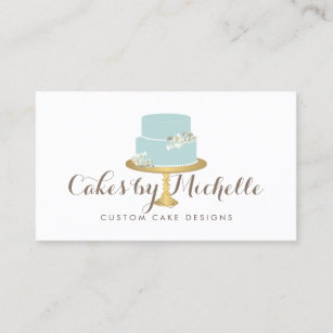 Wedding cake baker business cards business card printing zazzle ca elegant blue cake with florals cake decorating business card reheart Image collections