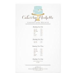 Elegant Blue Cake with Florals Cake Decorating Flyer Design