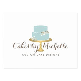 Elegant Blue Cake with Florals Cake Decorating Postcard