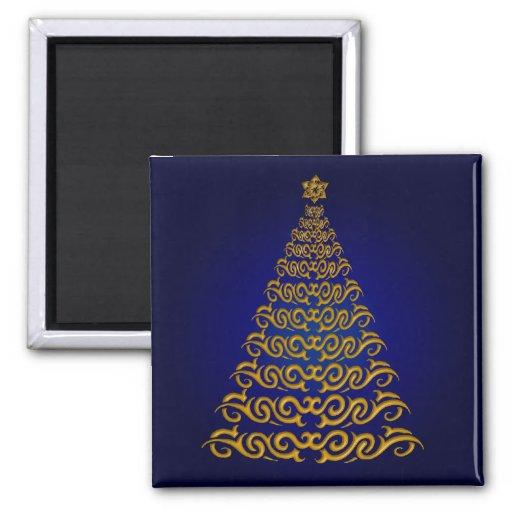 Elegant Blue Christmas Tree Magnet