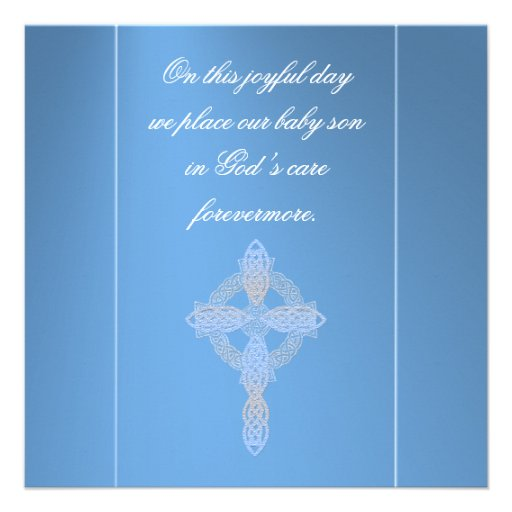 Elegant Blue Cross Baptism Personalized Announcements