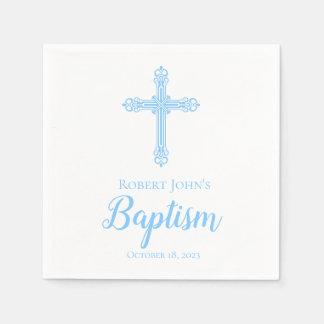 Elegant Blue Cross Baptism Personalized Napkin Disposable Napkin