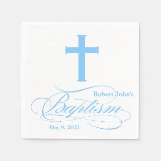 Elegant Blue Cross Baptism Personalized Napkin Paper Napkins