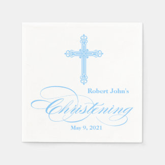 Elegant Blue Cross Christening Personalized Napkin