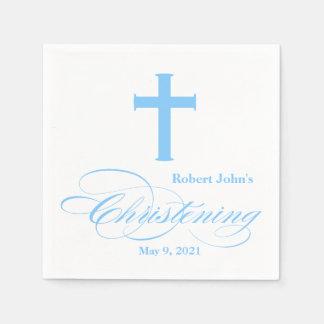 Elegant Blue Cross Christening Personalized Napkin Disposable Napkins