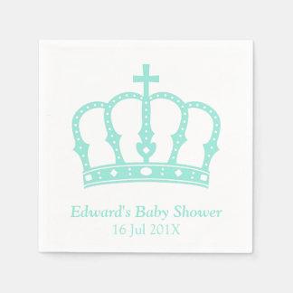 Elegant Blue Crown Prince Baby Shower Disposable Napkins