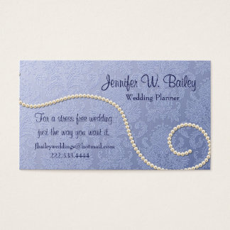 Elegant Blue Damask and Pearls Business Card