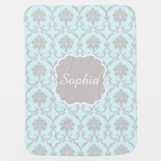Elegant Blue Damask Baby Blanket with Custom Name
