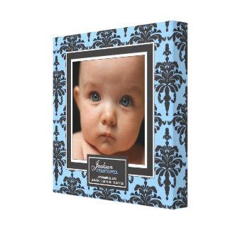 Elegant Blue Damask Baby Photo Birth Decor Stretched Canvas Print