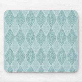 Elegant Blue Damask Mouse Pad