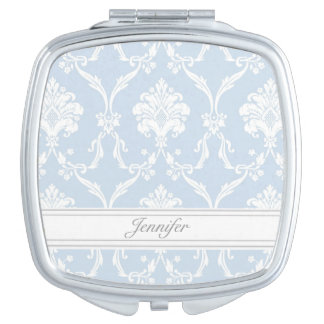 Elegant Blue Damask Pattern Customizable Makeup Mirror