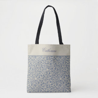 Elegant Blue Damask Pattern with Custom Text Tote Bag