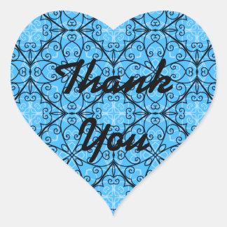 Elegant blue design, Thank You seals Heart Sticker