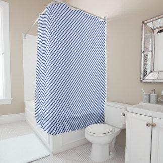 Elegant Blue Diagonal Stripe Shower Curtain