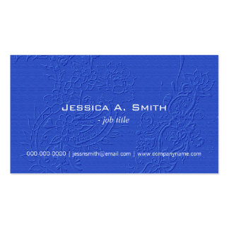 Elegant blue embroidered floral fabric texture business card template