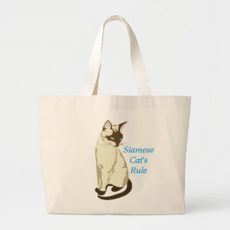 "Elegant Blue Eyed ""Siamese Cat 's Rule"" Tote"