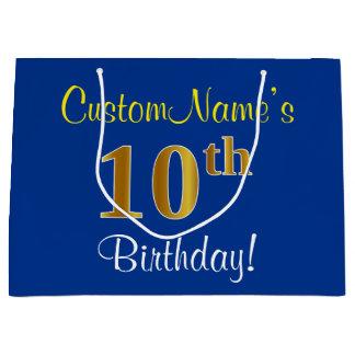 Elegant, Blue, Faux Gold 10th Birthday + Name Large Gift Bag