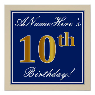 Elegant, Blue, Faux Gold 10th Birthday + Name Poster