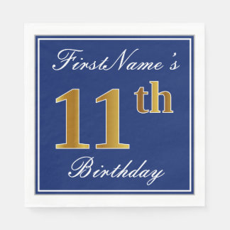Elegant Blue, Faux Gold 11th Birthday; Custom Name Paper Napkin