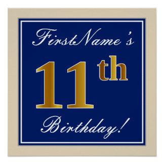 Elegant, Blue, Faux Gold 11th Birthday + Name Poster