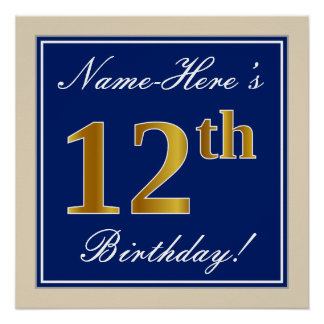 Elegant, Blue, Faux Gold 12th Birthday + Name Poster