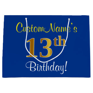 Elegant, Blue, Faux Gold 13th Birthday + Name Large Gift Bag
