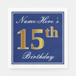 Elegant Blue, Faux Gold 15th Birthday; Custom Name Napkin